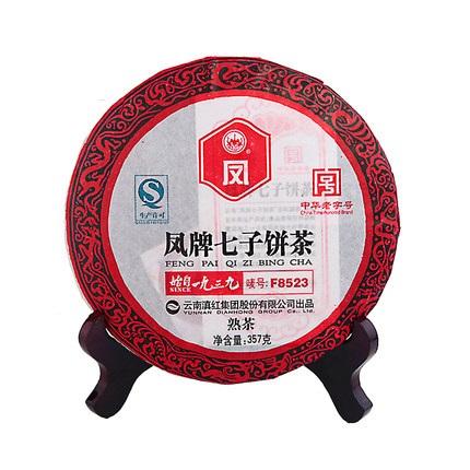 凤牌 2019年茶叶 普洱茶 云南临沧普洱熟茶F8523七子饼茶357g