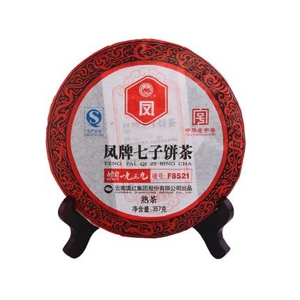 凤牌 2019年普洱茶 云南普洱茶熟茶饼七子饼茶叶陈香F8521普洱茶357g