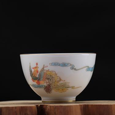 凤凰大杯丨品茗杯工笔手绘高温茶杯丨台湾自慢堂匠心营造