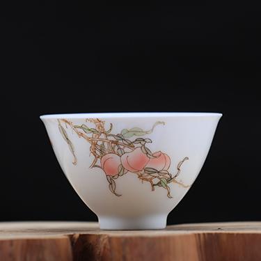 釉中彩桃心杯  桃子杯丨臺灣自慢堂匠心營造