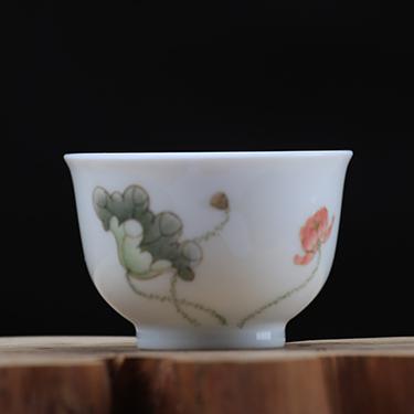 釉中彩望月杯 荷花杯丨手绘粉彩全手工高温品茗茶杯丨台湾自慢堂匠心营造