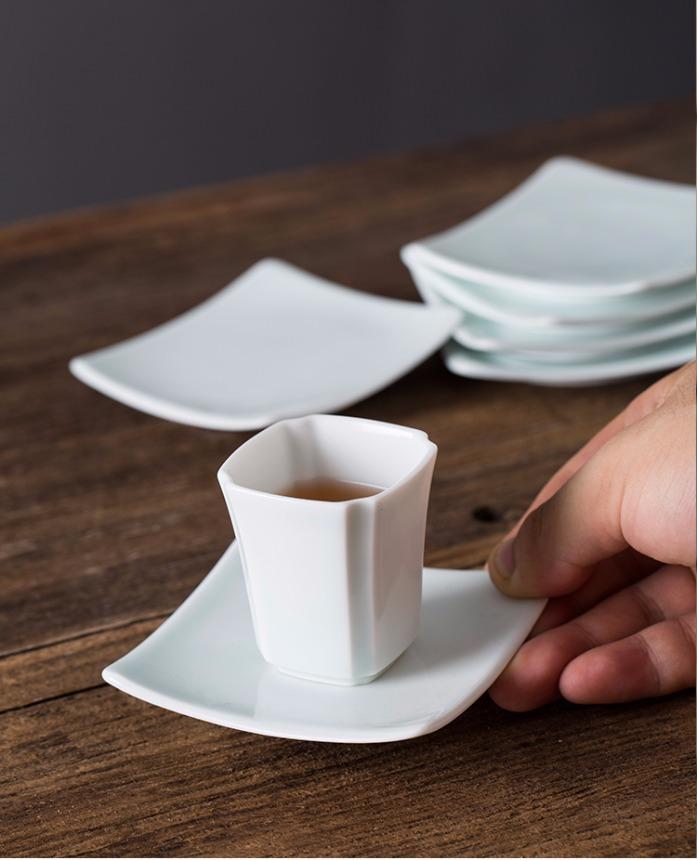 四方影青杯垫