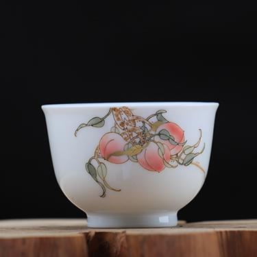 釉中彩望月杯 桃子杯丨手绘粉彩全手工高温品茗茶杯丨台湾自慢堂匠心营造