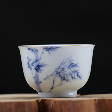 釉中彩望月杯 竹子杯丨手绘粉彩全手工高温品茗茶杯丨台湾自慢堂匠心营造