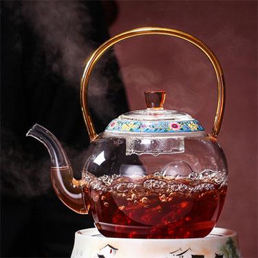 禾器 珐琅彩玻璃壶系列   玻璃煮水壶 琉璃把手 晶彩煮茶壶