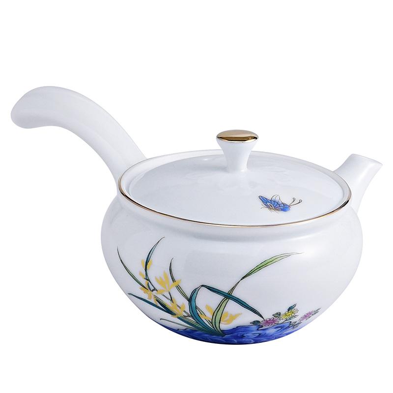 成艺白玉瓷侧把壶提梁壶茶壶陶瓷功夫茶具带过滤单壶大号手工描金