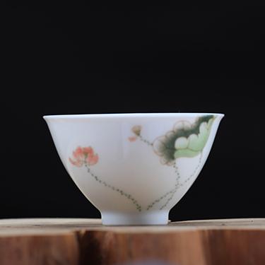 釉中彩桃心杯  荷花杯丨臺灣自慢堂匠心營造