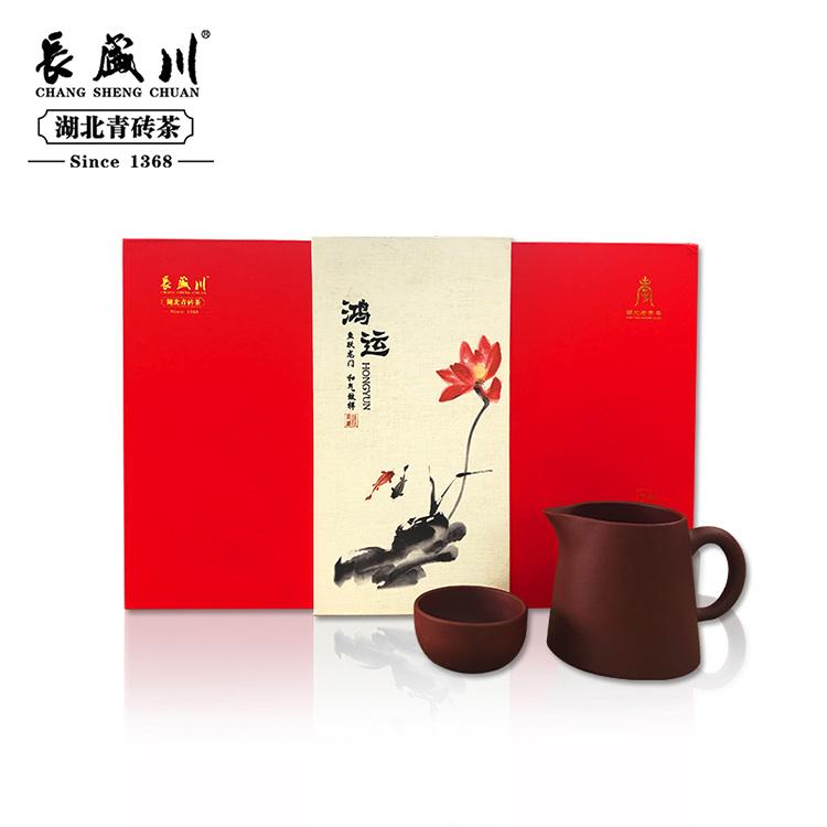 长盛川 2019年黑茶砖茶青砖茶 鸿运礼盒 600g