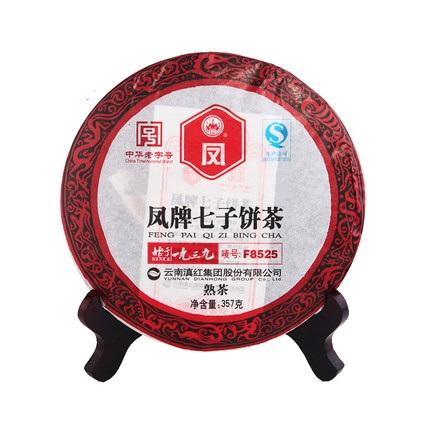 凤牌 2019年云南普洱茶叶熟茶饼陈年七子饼茶F8525普洱茶357g