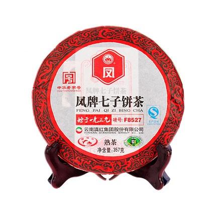 凤牌 2019年云南临沧产区普洱熟茶F8527七子饼熟茶357g