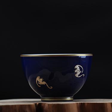 海蓝釉大杯丨品茗杯工笔手绘高温茶杯丨台湾自慢堂匠心营造