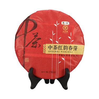 中茶牌 2016年云南普洱茶 七子饼 三年陈 红韵春芽 普洱熟茶 357g
