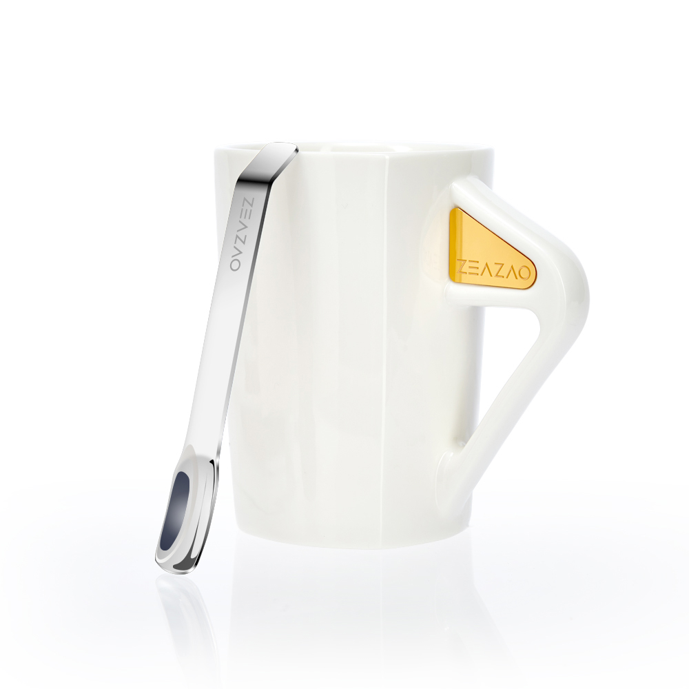 致造致在杯强磁吸附带勺马克杯简约创意陶瓷杯咖啡杯送男友