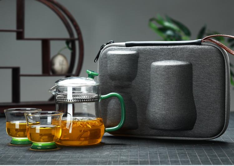 鑫凤祥耐高温玻璃茶壶套装一壶两杯功夫茶具旅行茶具