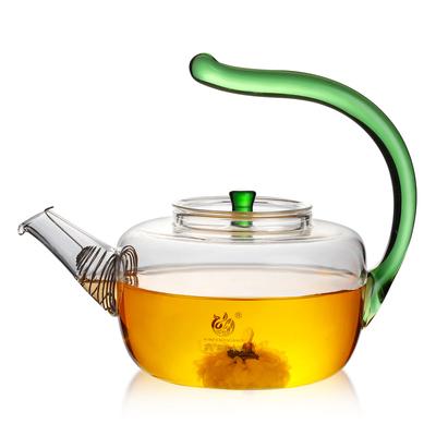 家用耐热玻璃茶壶手工花茶壶加厚过滤茶具翘把壶可明火加热