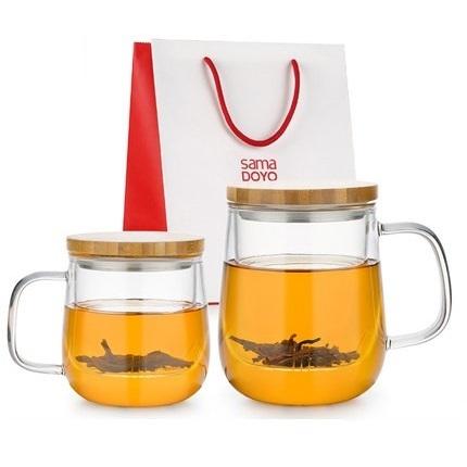 尚明绿茶杯  玻璃茶杯  过滤带把泡茶杯  家用透明玻璃杯子  办公室花茶杯