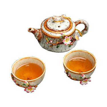 茶具套装一壶二杯办公室陶瓷景德镇中式简约便携式茶具