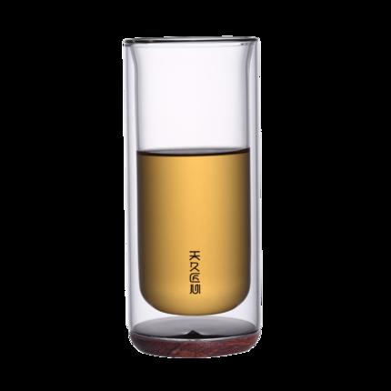 双层杯耐高温水杯透明茶杯家用玻璃杯创意木底牛奶杯花茶杯绿茶杯