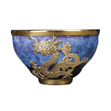 金镶玉油滴建盏茶杯子曜变镶金纯手工功夫陶瓷主人杯单杯