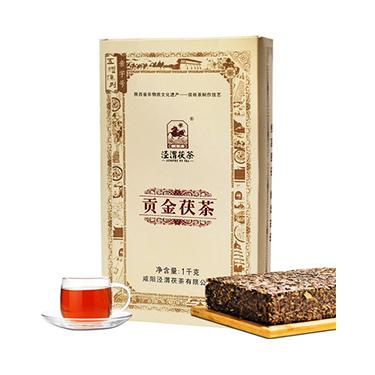 泾渭茯茶 2019年陕西特产 泾阳茯茶砖茶黑茶叶金花伏茶1kg 贡金茯茶