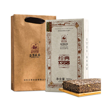 泾渭茯茶 2018年陕西特产 泾阳茯茶砖茶黑茶叶金花伏茶18年经典1368