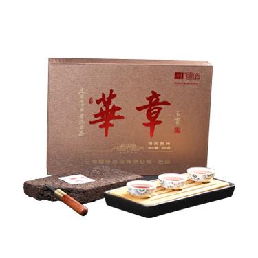 国皓 2019年华章901熟茶砖茶800g礼盒装  建国70周年纪念饼