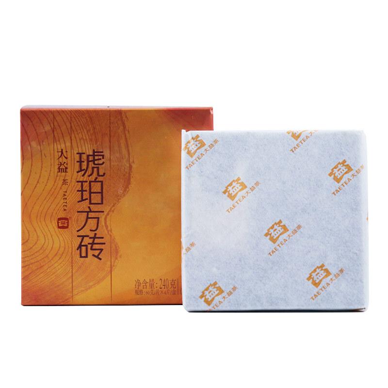 大益普洱茶熟茶2014年 琥珀方砖60g单片