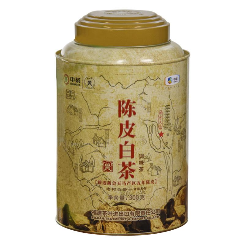 【中茶】陈皮白茶调味茶2020年蝴蝶牌老树白茶五年陈皮散茶300g罐