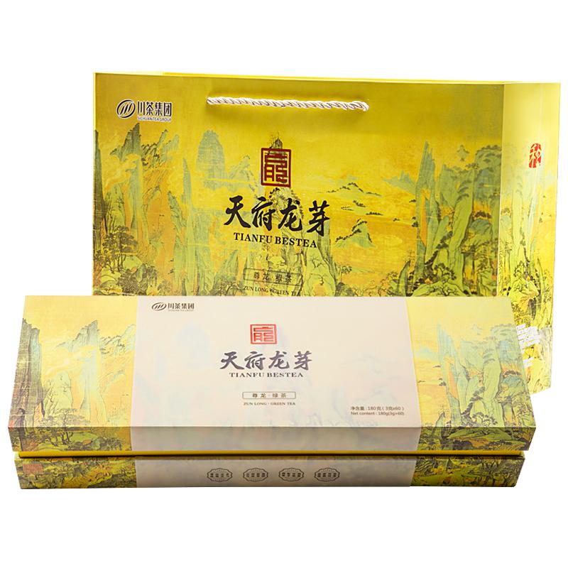 天府龙芽 2020早春龙芽雀舌绿茶(尊龙)茶叶山水中国风礼盒装 180g