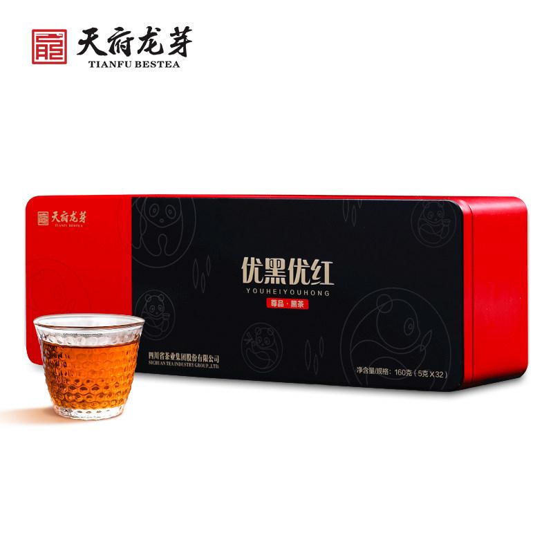 天府龙芽 四川黑茶(优黑优红)礼盒装160g